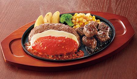チーズハンバーグ&サイコロステーキ