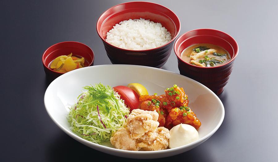 2種盛り唐揚げ定食塩&ピリ辛ジャン