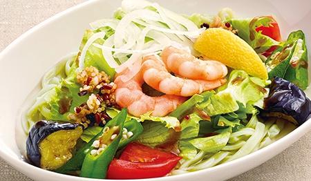 彩り野菜とえびのひんやりヘルシー麺
